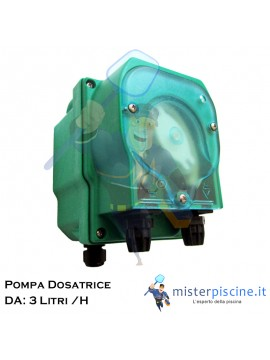 POMPA DOSATRICE PERISTALTICA A PORTATA FISSA 3 LITRI /ORA - 230Vax - 24V TUBO INTERNO IN SANTOPRENE