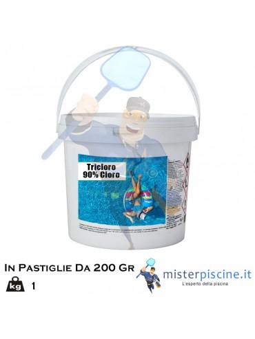 TRICLORO IN PASTIGLIE DA 200 GR - CONFEZIONI DA 1 KG - OFFERTE PRODOTTI CHIMICI PER PULIZIA PISCINA ONLINE