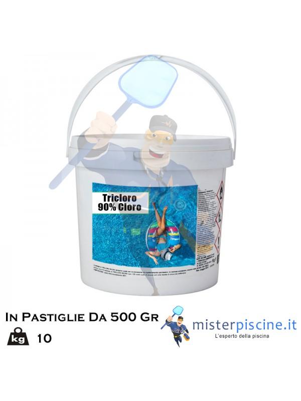 TRICLORO 90% DA 10 KG  BLISTERATO IN PASTIGLIE DA 500 GR  - OFFERTE PRODOTTI CHIMICI PER PULIZIA PISCINA ONLINE
