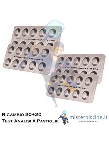 PASTIGLIE DI RICAMBIO PER TEST KIT ANALISI IN PASTIGLIE CLORO/PH - RICARICA 20+20