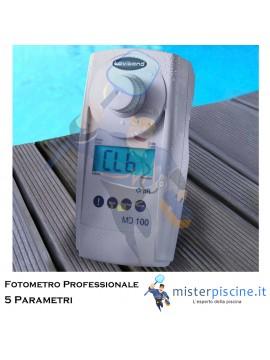 FOTOMETRO PROFESSIONALE MD100 5 IN 1 PER IL TEST DI CLORO, PH, ACIDO CIANURICO, ALCALINITA' E DUREZZA NELLE ACQUE DI PISCINE