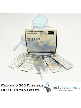 PASTIGLIE DI RICAMBIO DPD1 CLORO LIBERO - CONFEZIONE DA 500 CAPSULE - PER TEST PISCINA