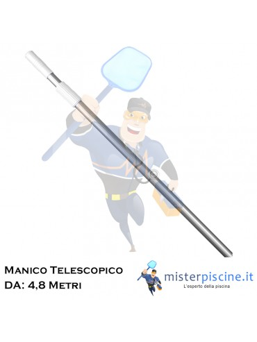 MANICO TELESCOPICO IN ALLUMINIO PRATICO RESISTENTE E LEGGERO CON UNA APERTURA MASSIMA DI 4,8 METRI