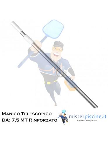 MANICO TELESCOPICO IN ALLUMINIO RINFORZATO RESISTENTE E LEGGERO CON UNA APERTURA MASSIMA DI 7,5 METRI