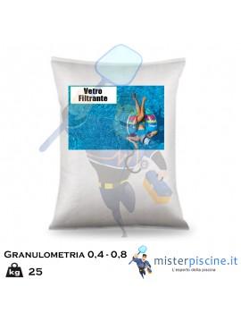 VETRO MACINATO FILTRANTE CON GRANULOMETRIA 0,4-0,8 PER FILTRO PISCINA - CONFEZIONE DA 25 KG