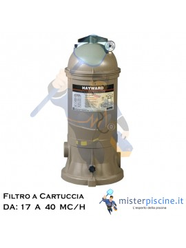 FILTRO A CARTUCCIA HAYWARD STAR CLEAR PLUS - 4 VERSIONI DA 17 A 40 MC/H - FILTRI PER PISCINE INTERRATE E FUORITERRA