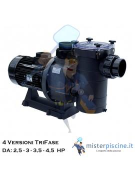 POMPA TRIFASE CON PREFILTRO HCP 3800 DI HAYWARD AUTOADESCANTE - 4 VERSIONI DA 2,5 A 4,5 HP - PER PISCINE MEDIO GRANDI