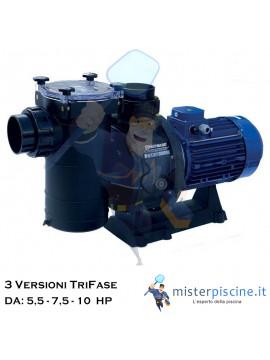 POMPA TRIFASE CON PREFILTRO HCP 4200 DI HAYWARD AUTOADESCANTE - 3 VERSIONI DA 5,5 - 7,5 E 10 HP - PER PISCINE CON GRANDI PORTATE