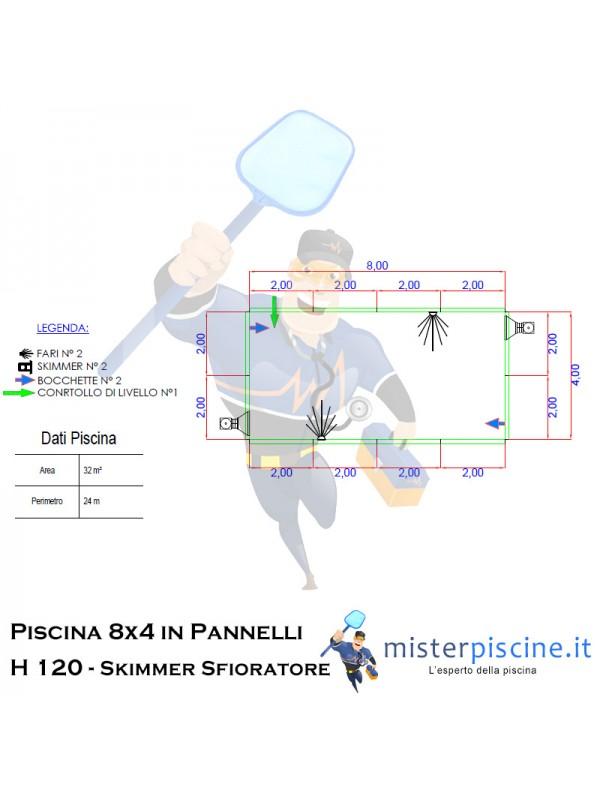 Piscina interrata in pannelli di Acciaio  8x4 H 120  - Liner a Saldare