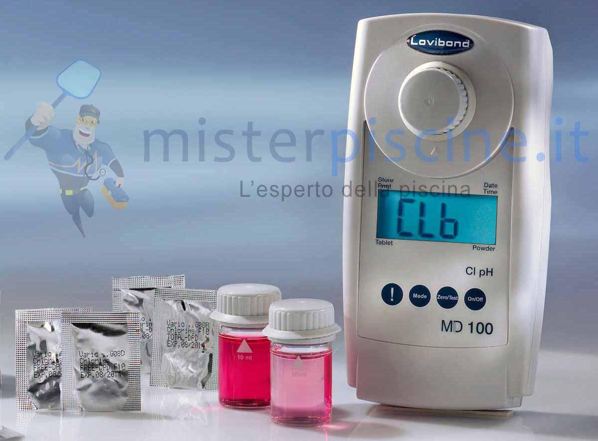 Fotometro MD100 3 in 1 per il controllo di cloro, ph, acido cianurico in piscina