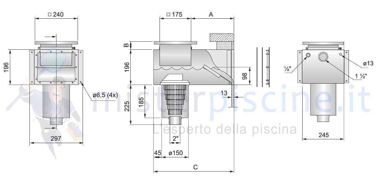 SKIMMER IN ACCIAIO INOX AISI 316 L